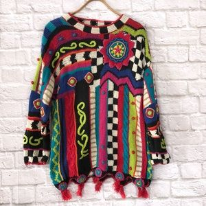 Vintage handmade crazy patterned knit sweater